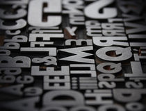 Typefaces in composition. Texture of old typefaces in composition Royalty Free Stock Photography