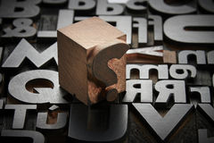Typefaces in composition. Texture of old typefaces in composition Royalty Free Stock Image