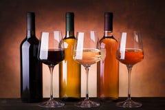Typer av buteljerade viner royaltyfria foton