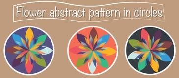 3 typer av den abstrakta blomman planlägger med åtskilliga och färgglade kronblad Logo, rengöringsduk eller symbolsbruk vektor illustrationer