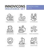 Typer av försäkringlinjen designsymbolsuppsättning stock illustrationer