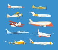 Typer av flygplanet: passagerare som är borgerlig, flygbuss, militär, biplan, flygplanhöghus vektor illustrationer
