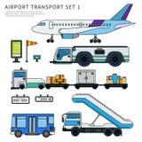 Typer av flygplatsarbete transporterar isolerat på vit Royaltyfria Bilder