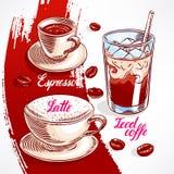 Typer av kaffe - 2 vektor illustrationer