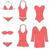 Typer av kvinnaswimwear Fotografering för Bildbyråer
