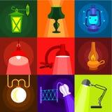 Typer av ljusa symboler ställde in, plan stil stock illustrationer