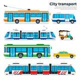 Typer av stadstransport som isoleras på vit Royaltyfri Foto