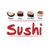 Typer av sushi för affär Royaltyfri Bild