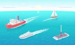 Typer för för vattentransportfärja och yacht ställde in vektorn royaltyfri illustrationer