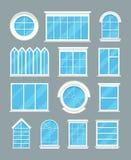 Types à la maison en verre icônes plates de fenêtres de vecteur illustration de vecteur