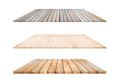 3 types étagères en bois de planche et fond blanc, pour des Di de produit Photo libre de droits