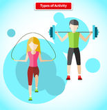 Types of Activity People Icon Flat Design Royalty Free Stock Images