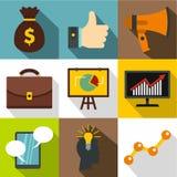 Types of advertising icons set, flat style Royalty Free Stock Photos