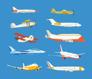 Types of airplane: passenger, civil, airbus, military, biplane, airplane high-rise. Set of commercial and private airplanes, view side. Types of airplane Stock Photography