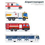 Types of airport transport  on white. Airport transport vector flat illustrations. Types of transport plying on the airfield while working. Ambulance, fire Royalty Free Stock Photos