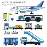 Types of airport working transport isolated on white Royalty Free Stock Images