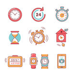 Types of alarms clocks, timers and watches set Royalty Free Stock Photo