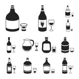 Types of alcohol black icons in set collection for design. Alcohol in bottles vector symbol stock web illustration. Types of alcohol black icons in set Stock Photography