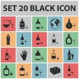 Types of alcohol black icons in set collection for design.. Alcohol in bottles vector symbol stock  illustration Stock Photography