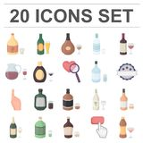 Types of alcohol cartoon icons in set collection for design. Alcohol in bottles vector symbol stock web illustration. Types of alcohol cartoon icons in set Stock Photo