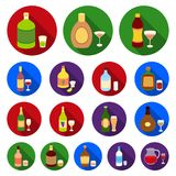 Types of alcohol flat icons in set collection for design. Alcohol in bottles vector symbol stock web illustration. Types of alcohol flat icons in set collection Royalty Free Stock Photos