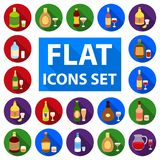 Types of alcohol flat icons in set collection for design. Alcohol in bottles vector symbol stock web illustration. Types of alcohol flat icons in set collection Stock Images