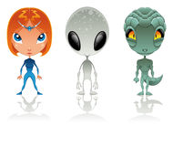 Types of aliens. Vector and cartoon characters Stock Image