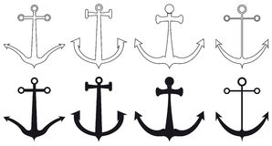 Types of anchors,  Royalty Free Stock Images
