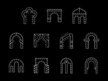 Types of arch white line icons collection Royalty Free Stock Photo