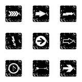 Types of arrows icons set, grunge style Stock Images