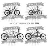 Types of bicycles in the form of silhouettes. vector illustration