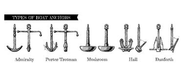 Types of boat anchors Royalty Free Stock Image