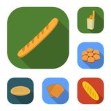 Types of bread flat icons in set collection for design. Bakery products vector symbol stock web illustration. Types of bread flat icons in set collection for Stock Image