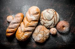 Types of bread from rye and wheat flour. On dark rustic background stock photography