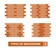 Vector types of brickwork Royalty Free Stock Photo