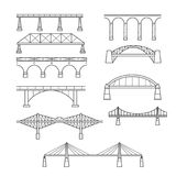 Types of bridges in linear style set - icon of bridges. Types of bridges in linear style set - infographic icon of bridges stock illustration