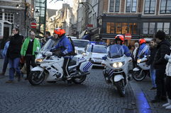 Types of Bruges. Belgium,Police maintain order in the city center Royalty Free Stock Photography