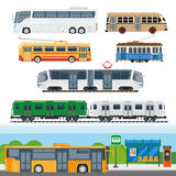 Types of buses, minibuses, railroad trains, trolleybuses, trackless tram vector. City means of transportation set. Types of buses, minibuses, railroad trains stock illustration