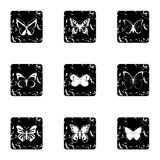 Types of butterflies icons set, grunge style Royalty Free Stock Photos