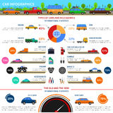 Types Of Cars Infographic Set. Types of cars and accessories infographic set with sedan truck and van flat vector illustration Stock Photo