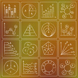 Types of charts chalky doodles. Illustration of types of charts chalky doodle icons Stock Photos