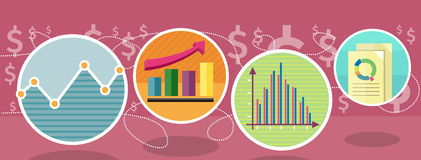 Types of Charts that Show Changes Share Prices. Different types of charts that show changes of share prices. Round color icons. Design concept. For web site Stock Photo