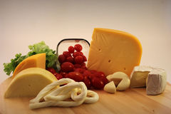 Types of cheese. With tomato Royalty Free Stock Photos