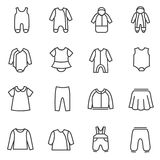 Types of clothes for babies as line icons Stock Photo