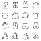 Types of clothes for boys and teenagers as line icons Stock Photos