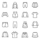 Types of clothes for girls and teenagers as line icons Royalty Free Stock Photography