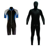 Types of clothing for diving Stock Photos