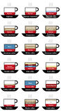 Types of coffee cups, the coffee in the world Royalty Free Stock Photos