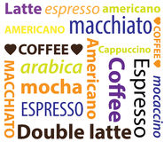 Types of coffee hot drinks Royalty Free Stock Photo