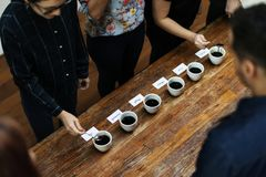 Types of coffee placed to taste or smell Royalty Free Stock Images